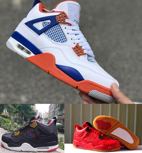 top popular Singles Day 4 mens shoes Black Gum designer shoes Tattoo Gym Red Chicago Midnight Navy 4s running Athletic sneakers sports shoes 40-47 2019