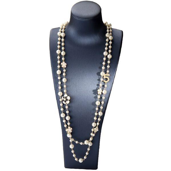 Fashion designer luxury classic style diamonds rhinestones Number 5 elegant bright pearls long sweater necklace for woman white black