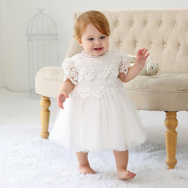 Bébé filles baptême robe enfant en bas âge dentelle broderie florale creuse princesse robe infantile 1er anniversaire robe robe bébé fille vêtements F7187