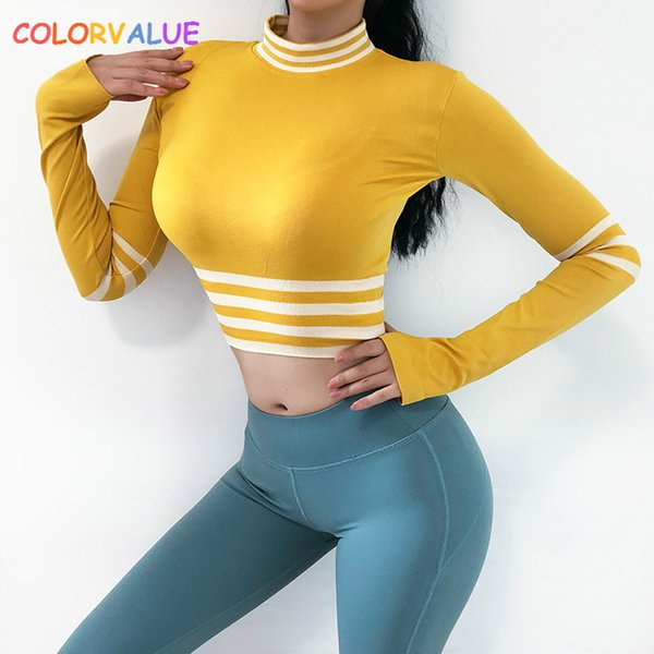 Colorvalue Sexy Striped Sport Workout Crop Top Donna Slim Fit maniche lunghe Yoga Fitness Shirts Athletic Jersey con fori per i pollici