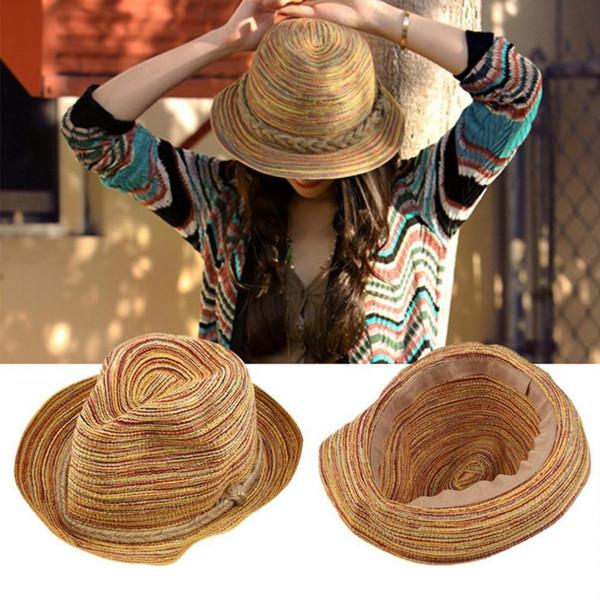 Hats/Caps 2019 Hot Sale Tops Floppy Sun Hats For Women Simple Summer Beach Rainbow Straw Hat Leisure Fashionable Foldable Panama