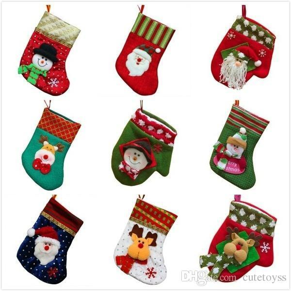 Pretty store multi Style Christmas Socks Festival Decor Christmas Party Hanger Xmas Ornaments Plush Candy Gift Bag Decorations