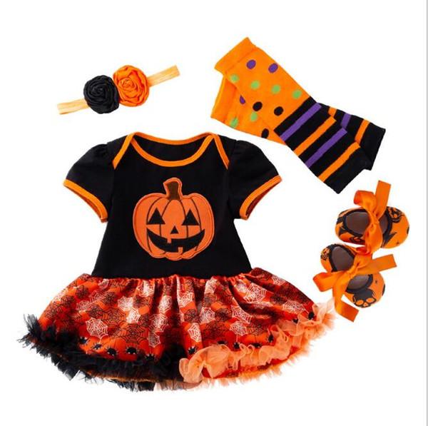 Новый Хэллоуин Детских Romper платье Set 0-24 месяцев с коротким рукавом Женская ребёнки отдых Носите младенец комбинезон обувь костюм