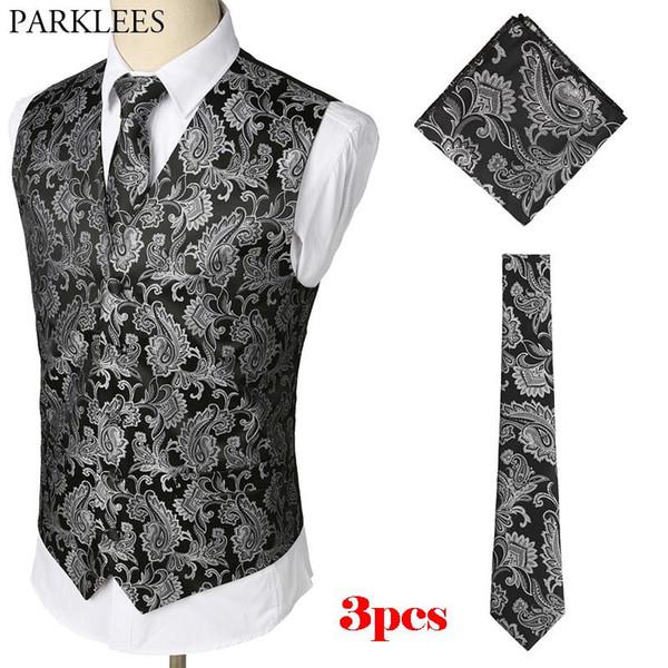 top popular Mens Black Waistcoats Slim Fit Men 3pcs Vest+Necktie+Handkerchief Set 2018 Paisley Jacquard Tuxedo Suit Vest For Party Wedding 2020