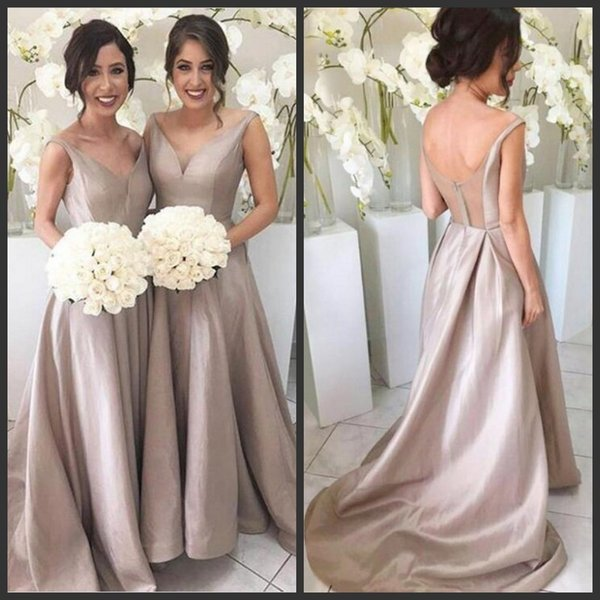 Simple Cheap Bridesmaid Dresses Custom Made Different Color V Neck Chiffon Backless Sheer Tulle Wedding Guest Gowns Maid Of Honor Dresses Champagne