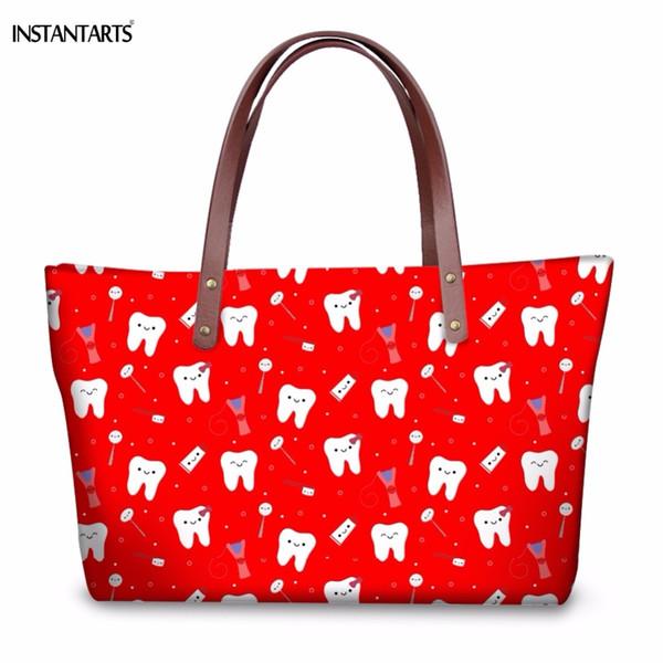 2019 Fashion INSTANTARTS Woman Red Large Tote Bags Funny Cartoon Dentist Equipment/Teeth Pattern Girls Travel Shoulder Bags Fashion Handbags