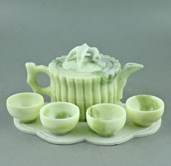 Lantian jade carved jade bamboo bamboo bundle teapot teapot four cups of tea Kung Fu