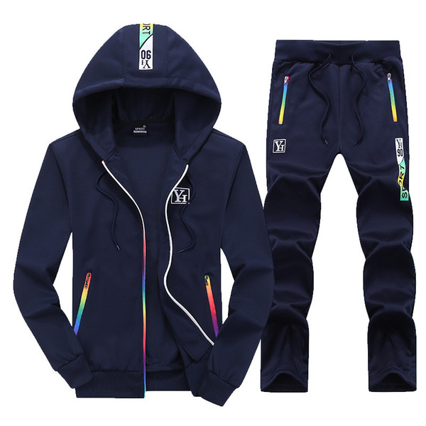 Pop2019 printemps et costume de sport mâle Agrandir Code Rainbow Zipper Temps Cool Run Easy Motion Wei Vêtements Robe 912