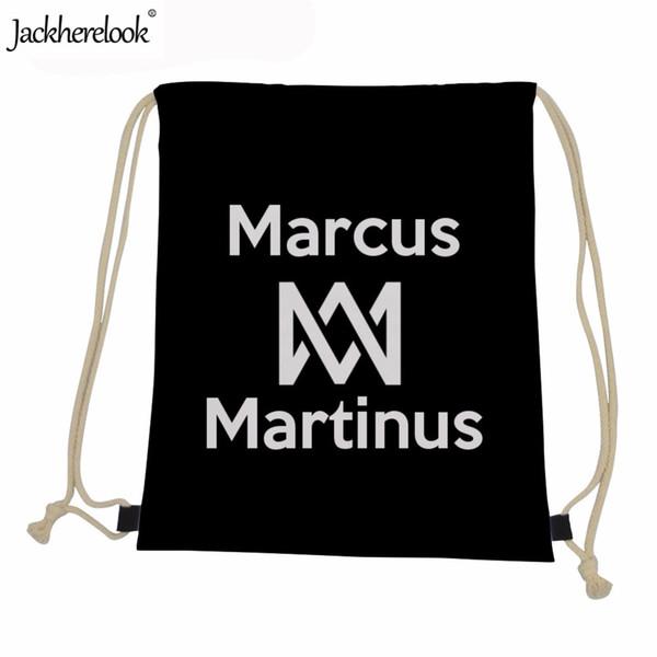 Jackherelook 2019 New Kids Boys Сумки на шнуровке Superstar Marcus And Martinus с печатью Черные сумки для детей Детские ежедневные рюкзаки