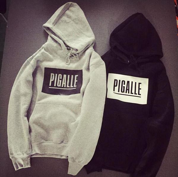 New Pigalle Hoodie Kanye West Hip Hop Street Sport Men Designer Hoodies Black Grey Loose Fit Pullover Sweatshirt