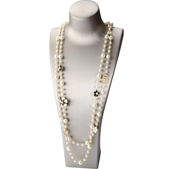 best selling High Quality Women Long Pendants Layered Pearl Necklace Collares de moda Number 5 Flower Party Jewelry GD290