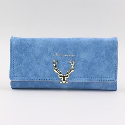 Fashion pure color new cartoon deer head design three fold long lady hand bag multi-functional personality temperament long purse