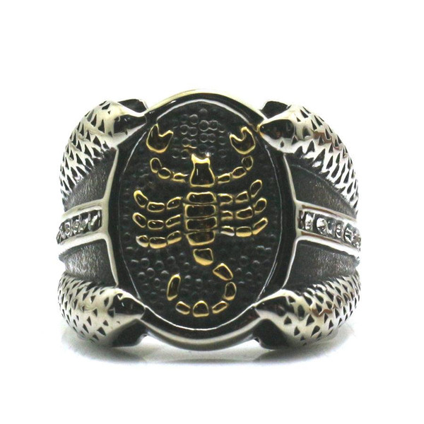 316L Stainless Steel Gloden Scorpion Hot Cool Ring Free Shipping