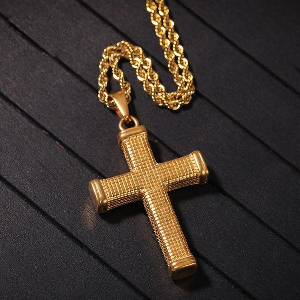 Jesus cristão único titanium cruz colar de aço inoxidável 18 k ouro oração choker cruz pingentes homens jóias
