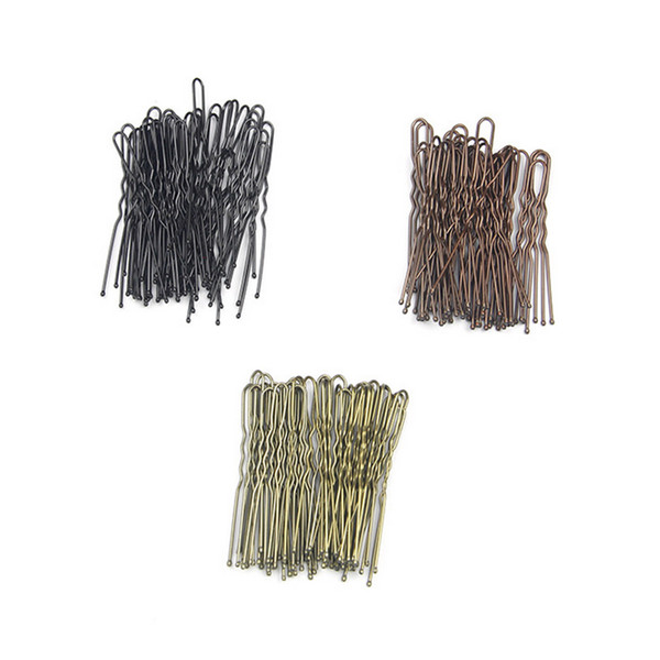Hair Clips Black U-shaped Hairpins Barrette 6cm Metal Plated Brown Bobby Pins for Women Girls