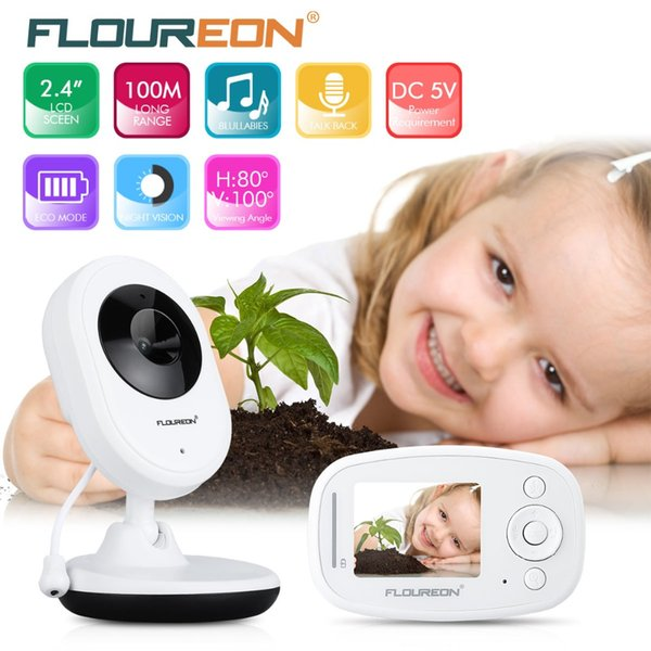 Floureon Night Vision Infant Wireless Monitor Baby Digital Video Camera Audio Music LCD Display Temperature Nanny Monitor