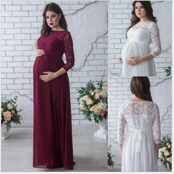 Mulheres grávidas vestido estilo Quente primavera / verão maternidade vestido com gola redonda e 9 minutos de manga vestido de maternidade do laço