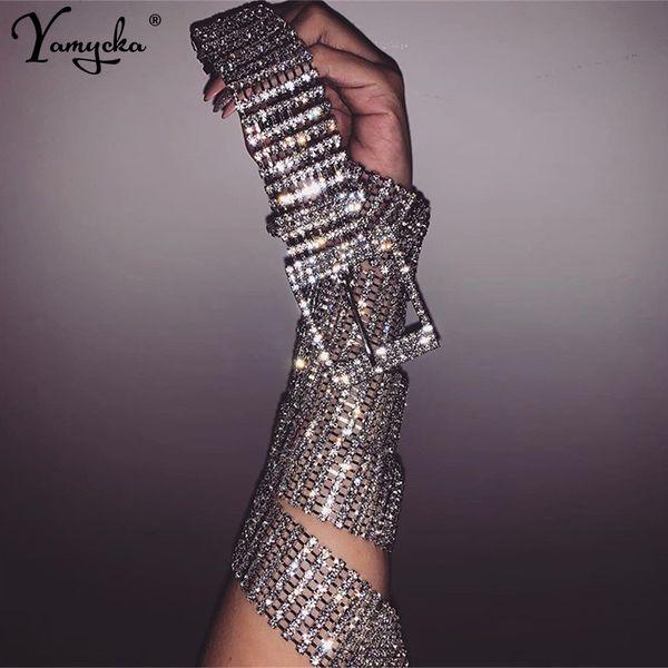 Sexy luxury ten row bright full rhinestone inlaid women's belt female bride wide Silver bling crystal diamond waist chain belt