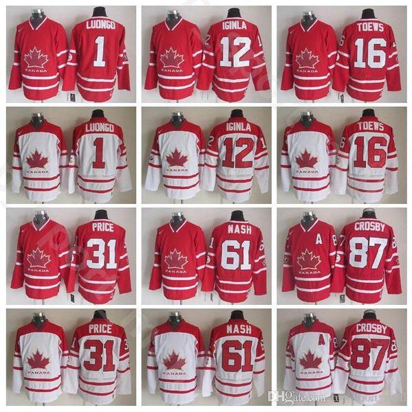 Team Canada Vintage Jerseyss Ice Hockey 1 Roberto Luongo 12 Jarome Iginla 16 Jonathan Toews 31 Carey Price 61 Rick Nash Sidney Crosby