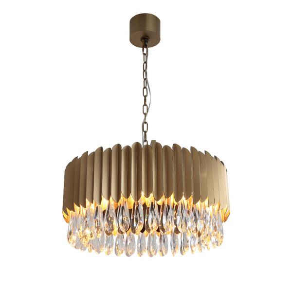 Yeni Modern Kristal Avize Oturma Odası Için Lüks Ev Dekorasyon Asılı Işık Fikstür Yuvarlak Altın Ev Lambaları