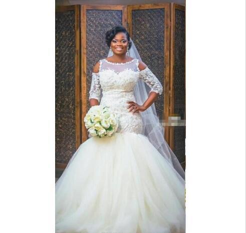 Unique Cold Shoulder African Wedding Dresses Plus size Trumpet Applique Lace Short Sleeves Tulle Cheap Wedding Dress Bridal Gowns Cheap