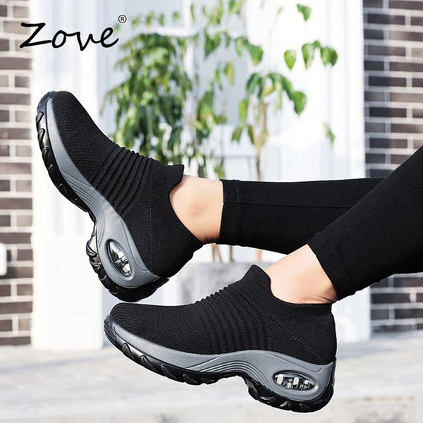 Zove Women Flat Platform Shoes 2019 Summer Breathable Mesh Walking Sneakers Slip-on Loafers Casual Sock Shoes Zapatillas Mujer MX190816