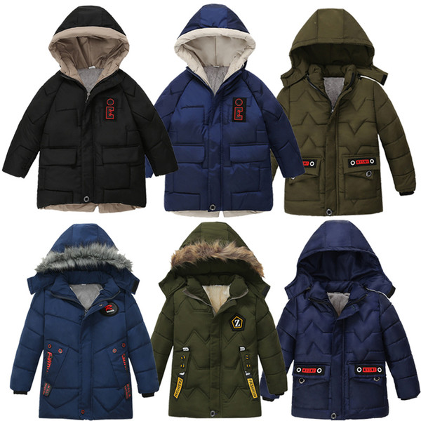 best selling Kids Down Coats Cool Boys Thicken 13 Designs Fashion Brief Pocket Letter Printed Down Jackets Boys Cotton Zipper 1-5T