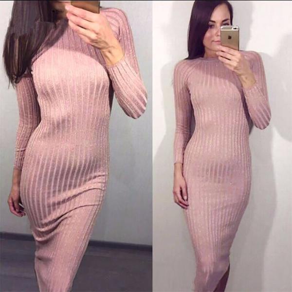 Women Column Dress Slim Thin Bright Silk Dresses Round Neck Long Sleeve 2019 Spring Autumn Fashion Knitting Women Clothing Free Size