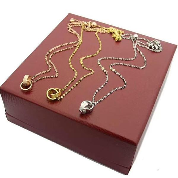 2019 top quality designer choker colares jóias 316l titanium aço 18k rose banhado a ouro colar de prata colar de pingente para as mulheres presentes