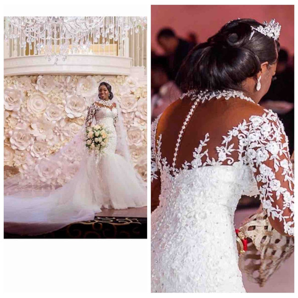 2019 Sheer Lace Appliques Long Sleeves Mermaid Wedding Dresses Beading Custom Made Bridal Gowns Formal Plus Size Vestidos De Marrage