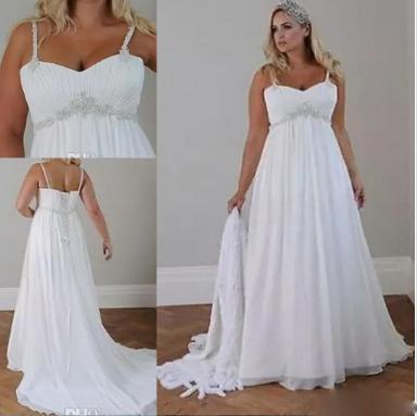 Crystals Plus Size Beach Wedding Dresses 2019 Corset Back Spaghetti Straps Chiffon Floor Length Empire Waist Elegant Bridal Gowns Sleeveless