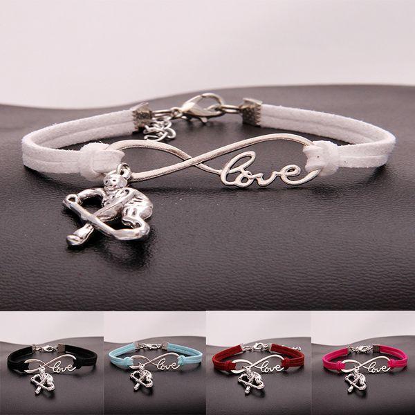 Fashion ice Hockey Sports charm bracelets women infinity Love Velvet rope warp Bangle For Men s simple Jewelry accessories Bulk