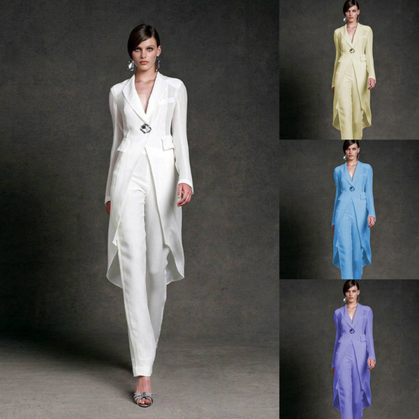 best selling Jumpsuits 2019 Mother of the Bride Dresses V Neck Pant Suits Wedding Guest Gowns With Jackets Long Sleeve Chiffon Mothers Groom Dresses