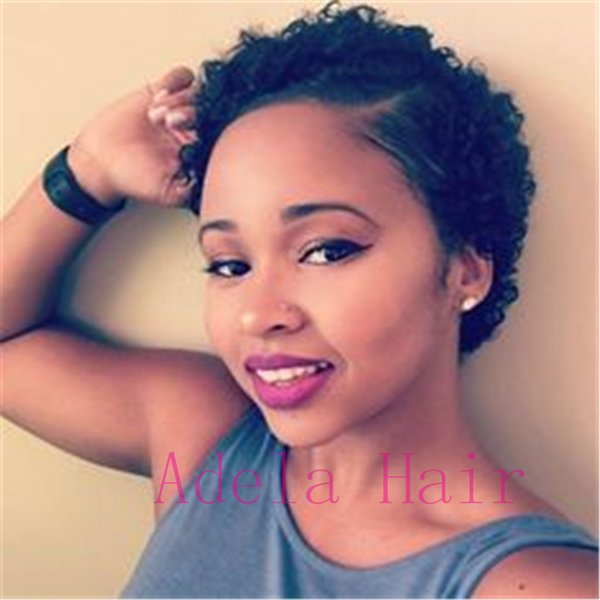 """Short Afro Curly Human Hair Wigs for Black Women 4"""" Natural Looking Black Color Kinky Curly Wig Brazilian Virgin Hair Wigs with Free Wig Cap"""
