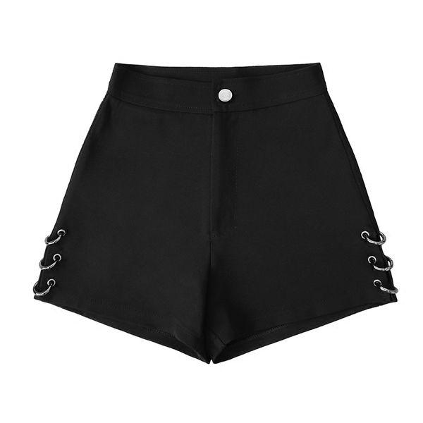 Summer Black Split Shorts For Women Loose Rings Decoration Fashion Shorts Female Y19042601