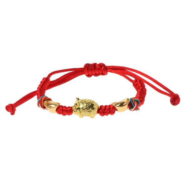 Lucky Kabbalah Red String geflochtene goldene Schwein Charm Armbänder Modeschmuck