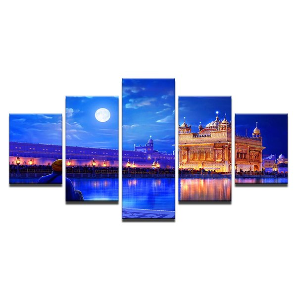 Modular Wall Art Pictures Framework HD pictures Printed Poster 5 Pieces Indian Golden Temple Canvas Painting Home Decor gift
