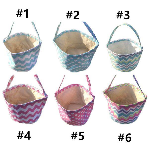 top popular Easter Gifts Handbag Rabbit Ears,Dots, wavy stripes Easter candy basket,Easter eggs basket,Easter Dot bunny bag 2021