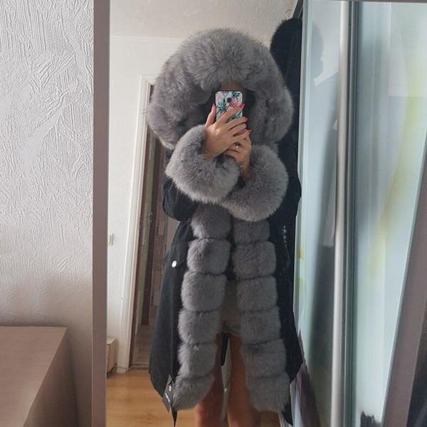 OFTBUY X-long Parka Waterproof Outerwear Real Fur Coat Winter Jacket Women Natural Fox Fur Hood Luxury Outerwear Detachable New MX191021