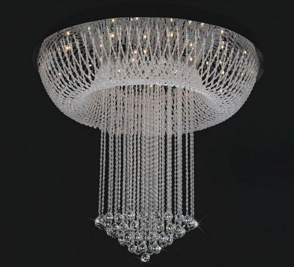 Luxury Large Crystal Lights Simple Creative Modern Circular pendant Lamp for Living Room Stairs with LED D800mmH1000mm MYY