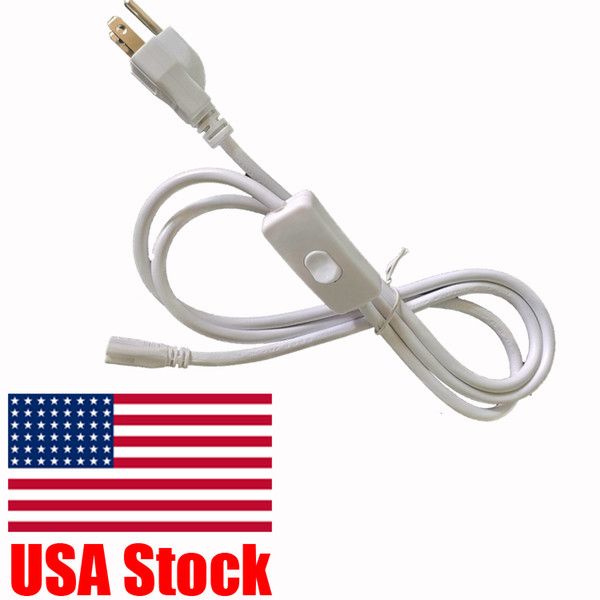 top popular T5 T8 6ft Connector Power Cord with on off Swith US Plug for Integrated LED Light Fixture Extension Cable Wire 2021