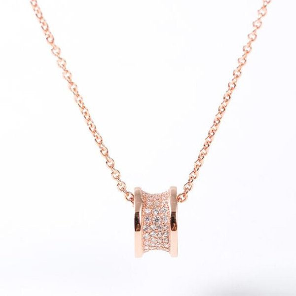 Designer B 925 Sterling Silver CZ Drum Small Waist Women Pendant Necklace Valentine's Day Gift Wedding Luxury Jewelry 1:1 High Quanlity Hot