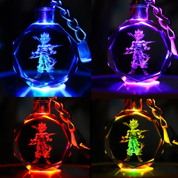 Dragon Ball Keychain Sun Wukong Action Figure Giocattoli Luce LED Portachiavi Portachiavi Pendenti in cristallo Gioielli moda DROP SHIP