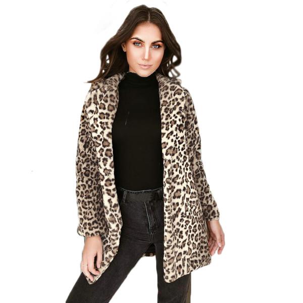 Womens Faux Fur Leopard Winter Warm Long Outerwear Size Plus Soft Ladies Parka Faux Fur Leopard Jacket Coat Fashion Slim Furs T190905