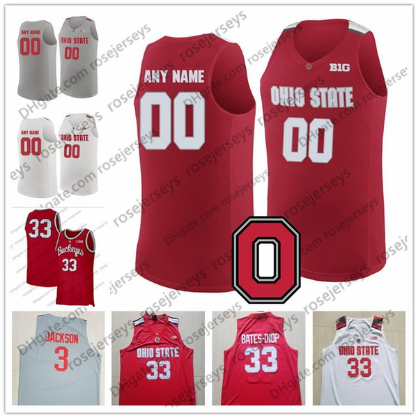 Customized Ohio State Buckeyes Any Name Number Basketball Red White Gray 33 Keita Bates-Diop 3 CJ Jackson 2019 OSU Men Youth Kid Jersey