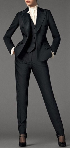 Black 3 Pieces Womens Waistcoat Suits Business Uniform Formal Outfit Ladies Office Suit Evening Party Tuxedos
