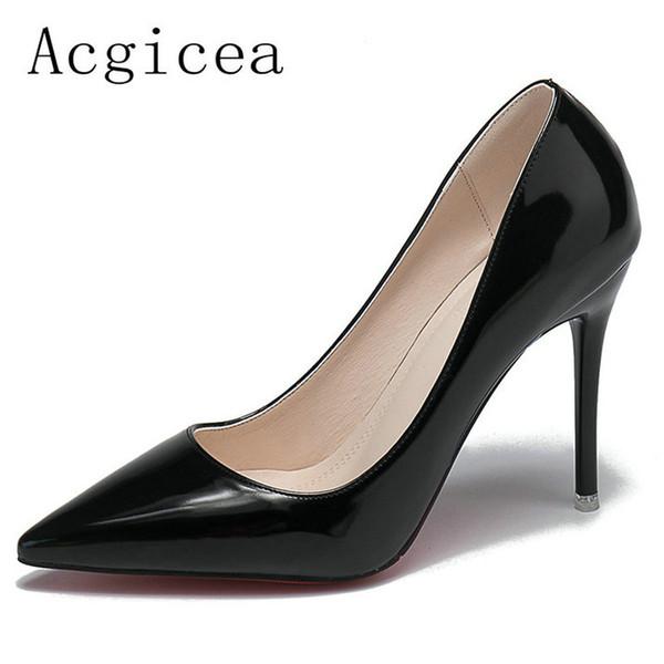 Designer Dress Shoes 2019 New Women 's Mature Shallow Pumps Pointed Toe Woman Summer Elegant Ladies Career Dress Super High heeels Footwear