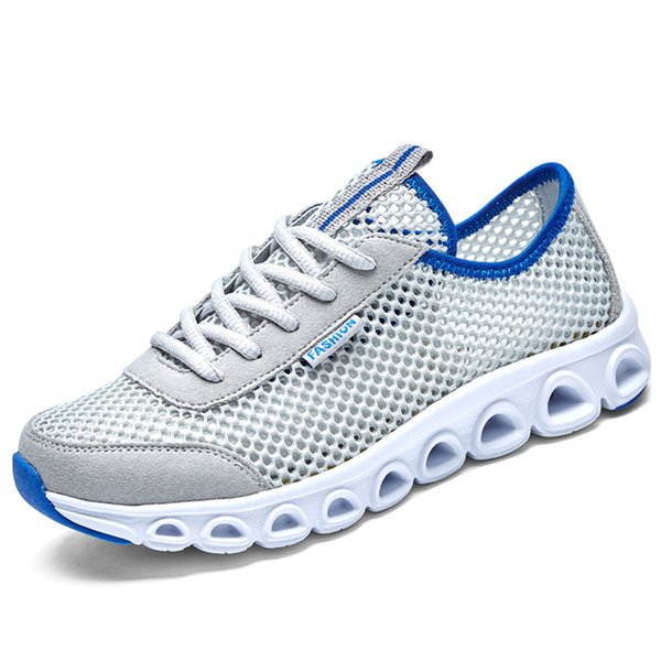 Men's Shoes 2019 Summer Breathable Thin Mesh Shoes Summer Stench-proof Mesh Hole Leisure Shoes for Men's Sports Running