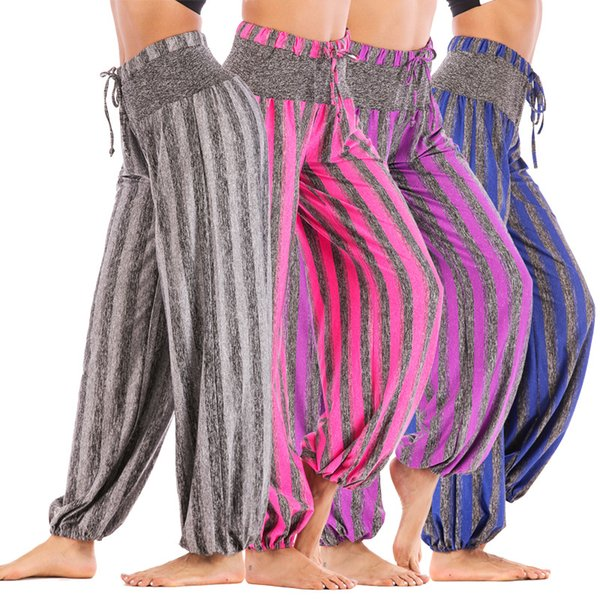 Foreign Trade Hot Selling Actual Photo of New Female Stripe Sports High-waist Yoga Pants Lanterns in Autumn of Europe and America in 2019