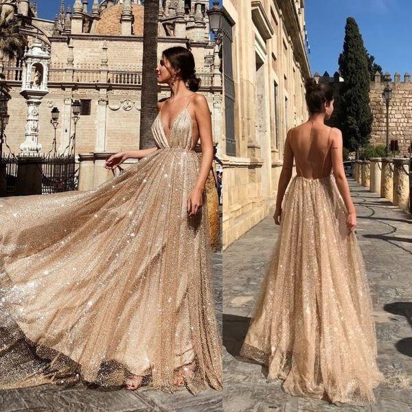 2019 Lindo Bling Bling Prata Lantejoulas Vestidos de Baile Longo Espaguete Backless Vestidos de Noite Vestidos de Festa Formal Vestidos de Celebridade 1201